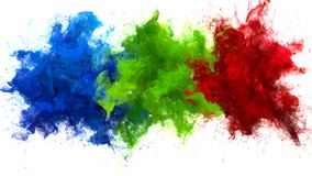 Blue Green Red Color Burst Multiple colorful smoke explosions fluid alpha matte