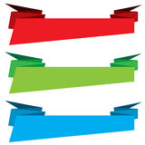 Blue, green and red Origami Banner template design isolated on white background.. Royalty Free Stock Images