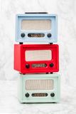 Blue, Green and Red Radios with Retro Look Stock Image