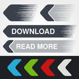 Blue, green, red, white and grey speed arrows. Simple arrow buttons. Pointer on web. Sign of download, next, read more, play, go e Royalty Free Stock Images