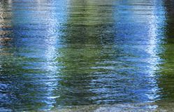 Blue and green reflection. On water, waves, for colored background Royalty Free Stock Photos