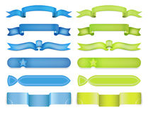 Blue and green ribbon vector banners set. Stock Photos