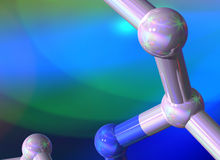 blue green scientific background with molecular Stock Photos