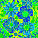 Blue-green seamless pattern with abstract flowers. Royalty Free Stock Image
