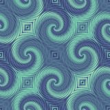 Blue and green seamless pattern with swirl effect. Royalty Free Stock Photos