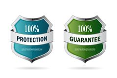 Blue and green secure shield icon. Blue and green secure shields icons set Stock Photos