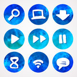 Blue and green set of watercolor icons, vector illustration Stock Images