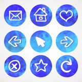 Blue and green set of watercolor icons, vector illustration Royalty Free Stock Photography