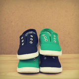 Blue and green shoes. Stock Images