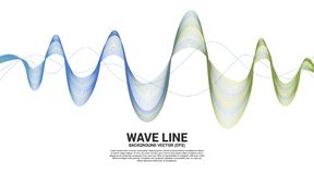 Blue and green Sound wave line curve on white background. Element for theme technology futuristic vector royalty free illustration