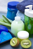 Blue and green spa. Bathroom decoration with blue and green color dominating Royalty Free Stock Photography