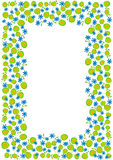 Blue and Green Spring Flowers Frame Border. Invitation card or frame with blue and green circles flowers Stock Images