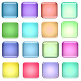 Blue and green square glass buttons Royalty Free Stock Photos