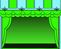 Blue and Green Stage with Green Stage Lights. Blue and green stage with green curtains and green lights shinning down on stage Royalty Free Stock Images