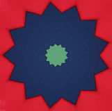Blue and green star on red Royalty Free Stock Images