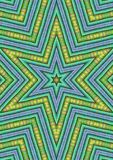 Blue Green Star Shaped Pattern. Made with real fabric details and rendered digitally to produce a star pattern image. Useful as a background, layer or texture Royalty Free Stock Images