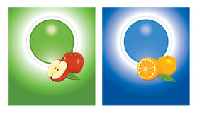 Blue and green stickers. Vector backgrounds - green and blue template with fruit stock illustration