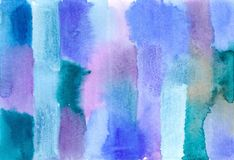 Watercolor image. Blue green striped abstract watercolor image Royalty Free Stock Image