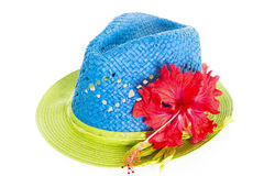 Blue and green summer panama straw hat on white Royalty Free Stock Photography