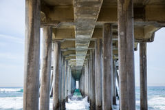Blue Green Surf under an Ocean Pier Royalty Free Stock Photo