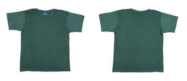 Blue green t-shirt front and back view Royalty Free Stock Photo