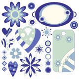 Blue and green tags, hearts and flowers. Over white Stock Photography