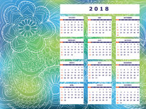Blue-green tangle zen pattern calendar year 2018. Business english calendar for wall on year 2018 on the gradient background with hand drawn tangle zen pattern Stock Photo
