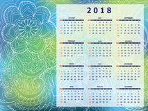 Blue-green tangle zen pattern calendar year 2018. Business english calendar for wall on year 2018 on the gradient background with hand drawn tangle zen pattern Stock Photography