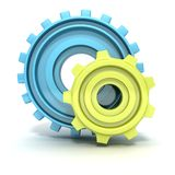Blue and green technology gears icon on white Royalty Free Stock Image