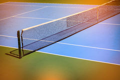 Blue and green tennis court. Sport background, image used vintage filter Royalty Free Stock Photos
