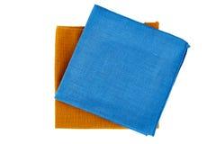 Blue and green textile napkins on white Stock Photo