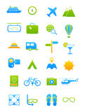 Blue-green traveling icons set Royalty Free Stock Image