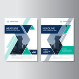 Blue green triangle geometric Vector annual report Leaflet Brochure Flyer template design, book cover layout design Royalty Free Stock Photography