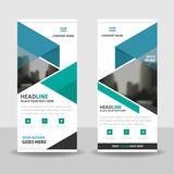 Blue green triangle roll up business brochure flyer banner design , cover presentation abstract geometric background Stock Photos