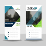Blue green triangle roll up business brochure flyer banner design , cover presentation abstract geometric background Stock Images