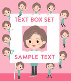 Blue-green tunic Middle woman text box. Set of various poses of Blue-green tunic Middle woman text box Royalty Free Stock Photo