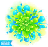 Blue and green vector paint splash on watercolor Royalty Free Stock Photo