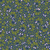 Blue and green pattern with abstract flower. stock illustration