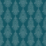 Blue Green vintage Paisley damask wallpaper. Seamless repeat pattern Royalty Free Stock Photography