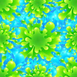 Blue and green vivid color paint splash vector. Seamless pattern tile Royalty Free Stock Image