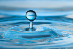 Blue green water drop and splash. Colorful aqua blue green  water drop and splash with ripples Stock Images