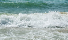 Blue, green water waves, Black Sea sandy shore, seaside with lat Stock Photo