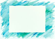 Blue and green watercolor brush stroke frame background. Blue and green watercolor brush stroke abstract frame background Royalty Free Stock Image