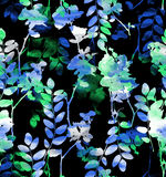 Blue-green watercolor flowers royalty free stock image
