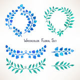 Blue and green watercolor leaves Royalty Free Stock Photography