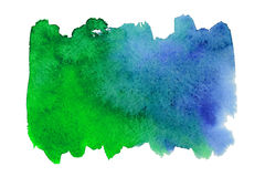 Blue and green watercolor spot. Blue and green watercolor blot on embossed paper isolated on white background. Abstract watercolor pattern royalty free stock images