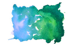 Blue-green watercolor spot. Blue-green watercolor stain on embossed paper isolated on white background. Abstract watercolor pattern royalty free stock photography
