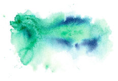 Blue and green watery illustration. Abstract watercolor hand drawn image.Azure splash.White background Stock Photography