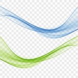 Blue and green wave. Set of abstract transparent waves royalty free illustration