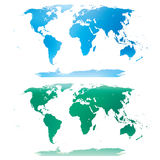Blue and green world map Stock Images
